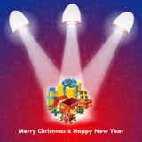 Julgåva med lampor stock illustrationer