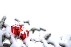 Julgåvaaskar och snögranträd royaltyfri foto