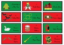 12 julgåvakort med de tolv dagarna av jul royaltyfri illustrationer