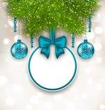 Julgåvakort med glass bollar Royaltyfri Foto