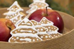 Julgarneringäpple och pepparkaka fotografering för bildbyråer