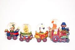 Julgarnering av drevet som transporterar jultomten Royaltyfria Foton