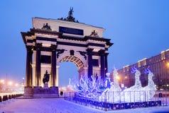 Julgarnering av Moskva Arkivfoton