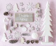 Julgarnering, den lekmanna- lägenheten, text tackar dig, snöflingor Arkivfoto
