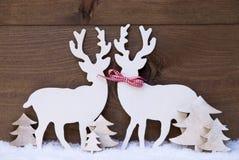 Julgarnering, förälskat renpar, snö, träd Royaltyfria Bilder