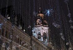 Julgarnering i Moskva arkivfoto