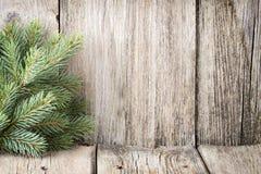 Julgarnering med gran förgrena sig på den wood bakgrunden arkivfoto