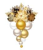 Julgarnering med guld- och silverbollar också vektor för coreldrawillustration Royaltyfri Bild