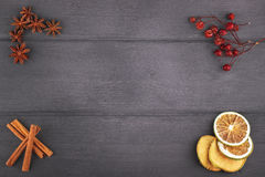 Julgarnering med stjärnaanis, kanelbrun pinne med den torra citruns i ram med fritt utrymme för text Royaltyfri Fotografi