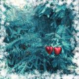 Julgarnering med två röda hjärtor Arkivfoto