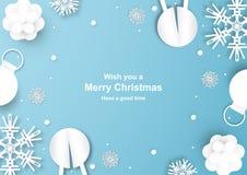 Julgarnering på blå bakgrund i papperssnitt och hantverk w stock illustrationer