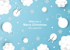 Julgarnering på blå bakgrund i papperssnitt och hantverk w vektor illustrationer