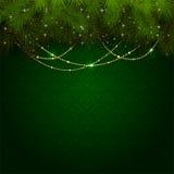 Julgarnering på den gröna tapeten Royaltyfria Bilder