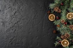 Julgarnering på feriebakgrund med granfilialer, sörjer kottar, röd garnering, kryddor xmas arkivfoto