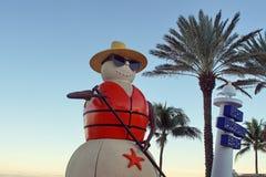 Julgarnering på Fort Lauderdalestranden royaltyfri foto