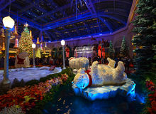 Julgarnering på den Bellagio hotelldrivhuset och botaniska trädgården Arkivfoto