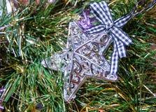 Julgarnering, stjärna på färgrika girlander arkivbild