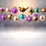 Julgarnering, struntsaker, bollar, fågel och stjärna stock illustrationer