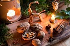 Julgarnering - valnötter, stearinljus, kanel, stjärnaanis, f Arkivbilder