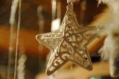 Julgarnering - vit blänka stjärna Arkivfoto