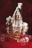 Julgarneringhus med tealight Royaltyfri Foto