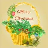 Julgarneringkorg med filialer och struntsakvektorn Fotografering för Bildbyråer