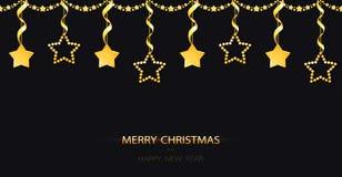 Julgirland med gula guld- struntsaker för brusande på den svarta bakgrunden Guld- garnering med hängande stjärnor med band stock illustrationer