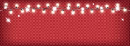 Julgirland på röd genomskinlig bakgrund vektor illustrationer