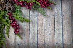 Julgirlanden med sörjer kottar och bär på en wood planka bo Arkivbilder