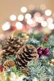 Julgirlandgarnering med lampor Arkivbild