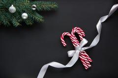 Julgodis med silverbandet och gräsplangranträd på svart bakgrund Utrymme för bästa sikt och kopierings Arkivbild