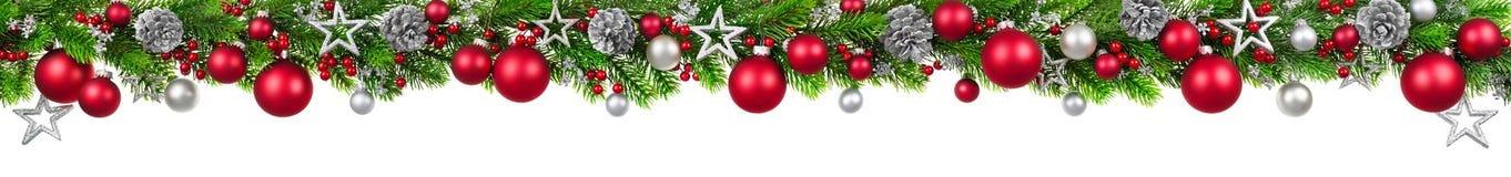 Julgräns på vit, extra sned boll Arkivfoto