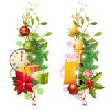 Julgränser vektor illustrationer