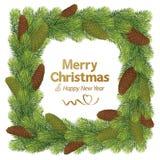 Julgränsramen med sörjer kotten Arkivfoto