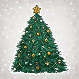 Julgran vektor illustrationer
