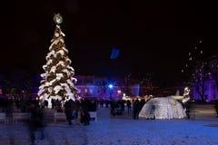 Julgran av Kaunas royaltyfria bilder