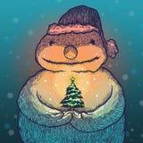 Julgran av snowmanen Arkivfoto