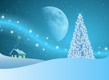 Julgran av stjärnor med blåttmoonen Arkivfoto
