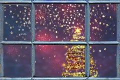 Julgran bak fönstret fotografering för bildbyråer