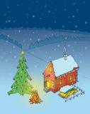 Julgran, bil och hus Arkivfoto