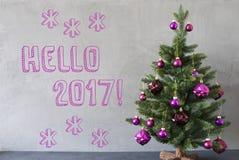 Julgran cementvägg, text Hello 2017 Arkivfoton
