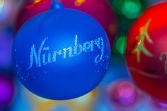 Julgran decoraion-bouble Nuremberg (Nuernberg) - Tyskland Arkivfoton