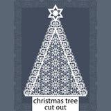 Julgran - en mall för laser-klipp Planlägg beståndsdelen för kortet för jul och för det nya året, inbjudan- eller hälsning Vara k vektor illustrationer