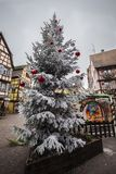 Julgran för Colmar Frankrike jultid Royaltyfria Bilder