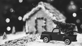 Julgran för pepparkakahuset Arkivbild