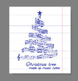 Julgran från musikanmärkningar vektor illustrationer