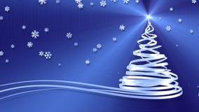 Julgran från vitband och snöflingor över blåttmetallbakgrund lager videofilmer
