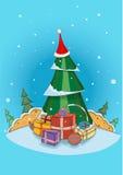 Julgran i den santa hatten Arkivbilder