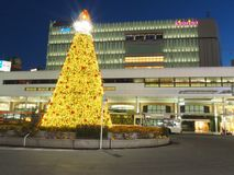 Julgran i det Kichijoji området i Tokyo arkivfoto