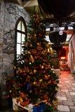 Julgran i en hemtrevlig kafékorridor royaltyfri fotografi